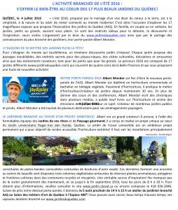 COMMUNIQUÉ- POUR DIFFUSION IMMÉDIATE – L\'ACTIVITÉ BRANCHÉE DE L\'ÉTÉ ...